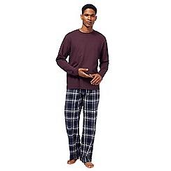 Maine New England - Big and tall dark purple checked loungewear set