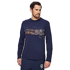 RJR.John Rocha - Navy layered bar print long sleeve t-shirt