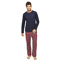 Tommy Hilfiger - Navy top and checked bottoms pyjama set