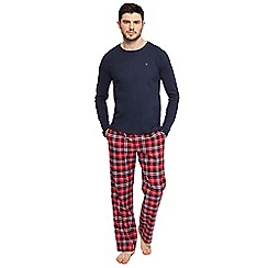Tommy Hilfiger - Navy top and red checked bottoms pyjama set