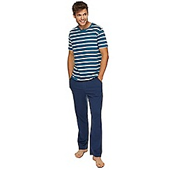 Tommy Hilfiger - Turquoise striped top and navy bottoms pyjama set