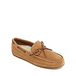 Clarks - Tan suede 'Crackling Glow' moccasins