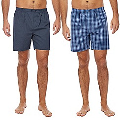 Maine New England - Blue checked and navy diamond print pyjama shorts