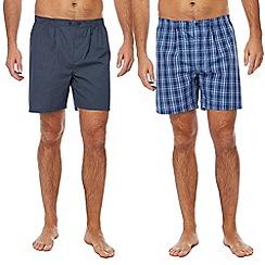 Maine New England - Big and tall blue checked and navy diamond print pyjama shorts