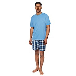 Maine New England - Big and tall light blue grandad top and checked shorts pyjama set