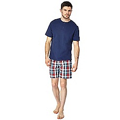 Maine New England - Navy grandad top and checked shorts pyjama set