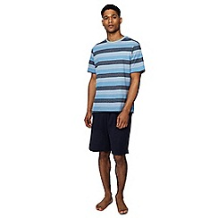 Maine New England - Big and tall blue striped cotton short sleeve pyjama set