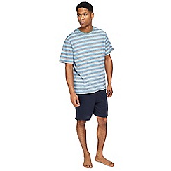 Maine New England - Blue striped t-shirt and navy shorts pyjama set