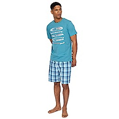 Mantaray - Turquoise surf print t-shirt and checked shorts pyjama set