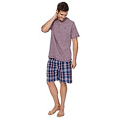 Mantaray - Purple t-shirt and checked shorts pyjama set
