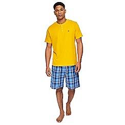 Mantaray - Dark yellow t-shirt and checked shorts pyjama set