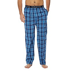 Red Herring - Big and tall navy gingham check cotton pyjama bottoms