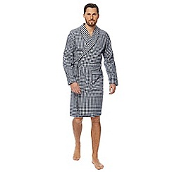 Hammond & Co. by Patrick Grant - Big and tall grey checked print cotton dressing gown