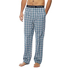 Red Herring - Aqua woven check cotton pyjama bottoms
