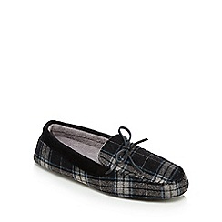 Maine New England - Grey checked moccasin slippers