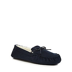 Maine New England - Navy micro suede moccasin slippers