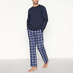 Tommy Hilfiger - Navy checked cotton pyjama set