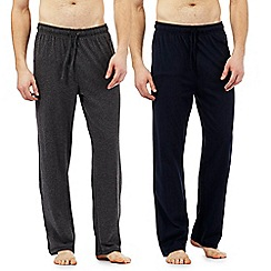 Maine New England - Pack of 2 grey and navy jersey lounge bottoms
