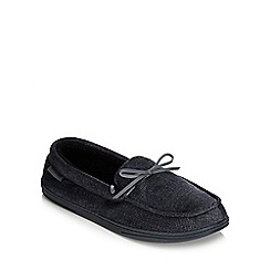 Isotoner - Dark grey herringbone moccasin slippers