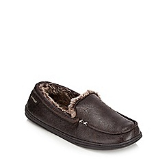 Isotoner - Dark brown faux fur lined moccasin slippers