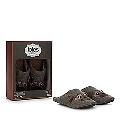 Totes - Light brown pug mule slippers with wool