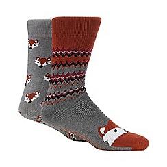 Totes - 2 pack grey fox print slipper socks