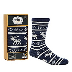 Totes - Navy reindeer embroidered slipper socks