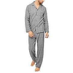 Lounge & Sleep - Big and tall grey checked pyjama set in a gift box
