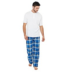 Lounge & Sleep - White and blue checked print cotton pyjama set