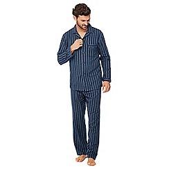 Lounge & Sleep - Big and tall navy striped pyjama set in a gift box