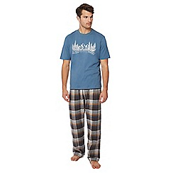 Lounge & Sleep - Blue checked pyjama set