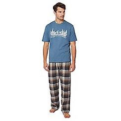 Lounge & Sleep - Big and tall blue checked pyjama set