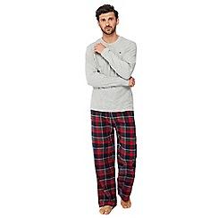 Mantaray - Grey top and red checked bottoms pyjama set