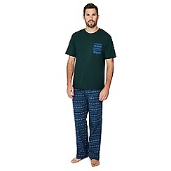 Lounge & Sleep - Blue and green Fair Isle print pyjama set