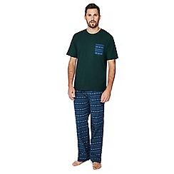 Lounge & Sleep - Big and tall blue and green fair isle print pyjama set