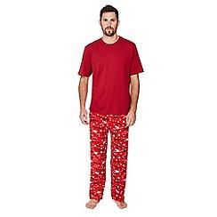 Mantaray - Big and tall red festive print pyjama set