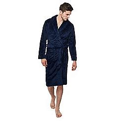 Lounge & Sleep - Big and tall navy ribbed fleece dressing gown