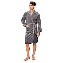 Lounge & Sleep - Grey ribbed fleece dressing gown