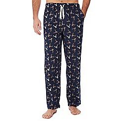 Mantaray - Big and tall navy stag print pyjama bottoms