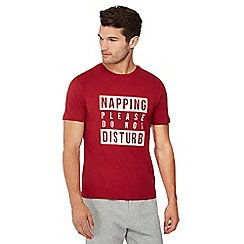 Lounge & Sleep - Red slogan print pyjama top