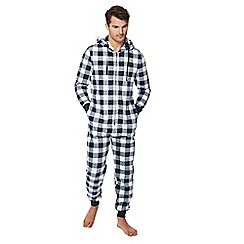 Lounge & Sleep - Navy checked onesie