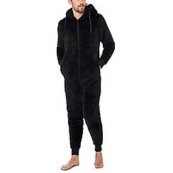 Lounge & Sleep - Black faux fur monkey onesie