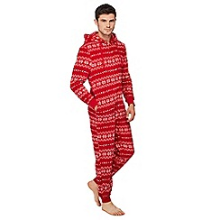 Lounge & Sleep - Red Fair Isle onesie