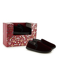 Maine New England - Wine red corduroy carpet slippers in a gift box