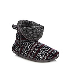 Mantaray - Red Fair Isle knitted slipper boots