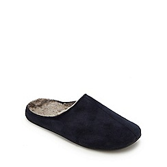 Mantaray - Navy faux fur lined mule slippers