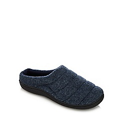 Mantaray - Navy quilted mule slippers