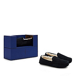 J by Jasper Conran - Navy suede moccasin slippers