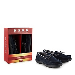 Maine New England - Navy 'Thinsulate' memory foam moccasin slippers in a gift box