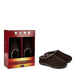 Maine New England - Chocolate brown 'Thinsulate' memory foam mule slippers